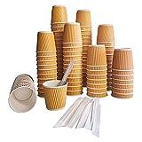 Doble Pared - Kit 100 Vasos Café Expreso Desechables de Cartón Kraft Corrugado 120ml 4oz con Agitadores de Madera