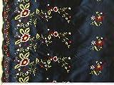 ab 1m: Taft bestickt, Blumen, marine-gelb, 145cm breit