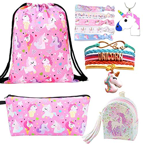 10 Paquete Lindo Unicornio Mochila con cordón/Maquillaje/PU Monedero Bolsos de Embrague/Collar de Cadena de aleación/Unicornios para el Cabello para niñas (Style 1)