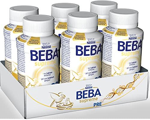 Nestlé BEBA SUPREME PRE Anfangsmilch: trinkfertige Portionsflaschen, mit Omega 3, 6er Pack (6 x 200ml)