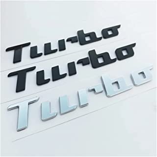 ZHANGJINGNAN 手書きのフォントスタイルのABS文字エンブレムターボフィットビートル車のトランクロゴバッジステッカークロームマットブラック光沢 (Color : Glossy black)