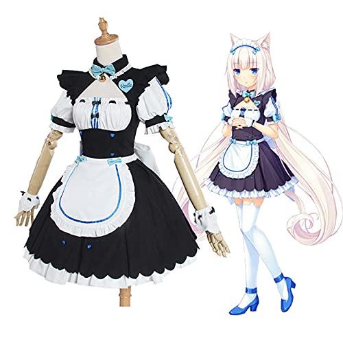 QDX Vanilla Chocola Cosplay Vestido de Disfraces, Gato de Mujer niña sirvienta de sirvienta Vestido de Lolita Vestido nekopara Anime Halloween Cosplay Conjunto Completo Blue-M