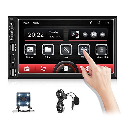 OiLiehu Doppel Din Autoradio Bluetooth , 7 '' HD-Auto MP5-Player Kapazitiver Touchscreen Auto Multimedia-Player Mit FM-Radio/Dual USB/TF/Externes Mikrofon/Lenkradsteuerung/Mirror Link Für Android IOS