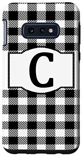 Galaxy S10e Black and White Buffalo Plaid Monogram Letter C Initial Gift Case