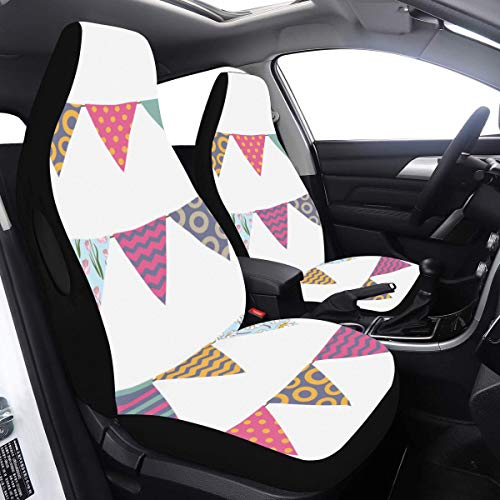 Protective Seat Covers Popular Bunting Flags Decor Car Seat Covers for Men 2 Pcs Universal Fit Airbag Compatible for for Car SUV Auto Truck Car Seat Covers for Cars