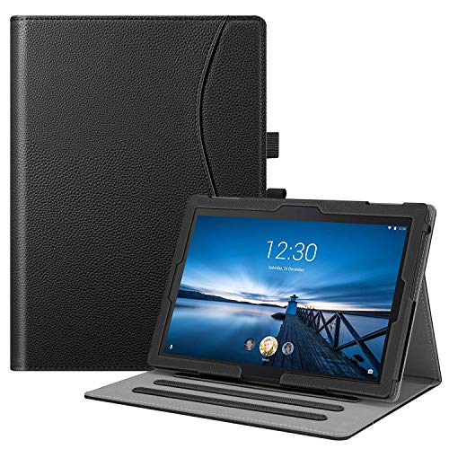 FINTIE Case for Lenovo Tab E10 TB-X104F / Tab4 10 / Tab4 10 Plus Tablet, Multi-Angle Viewing Stand Cover with Pocket and Auto Sleep/Wake, Black
