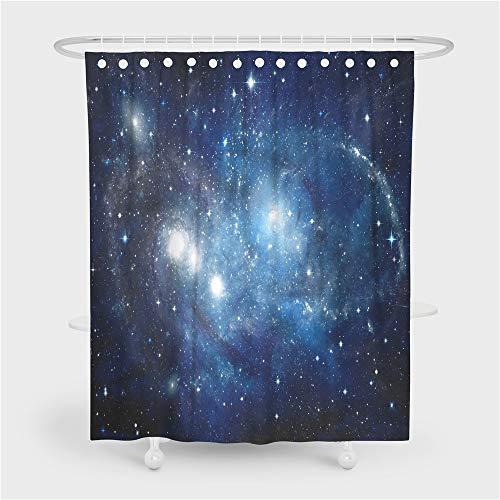 3D Blau Schwarz Galaxis Star Kosmos Planet Duschvorhang mit 12 Plastik Haken, Schmetterling Wolf Delfin Tier Duschvorhang Anti Schimmel, Duschvorhang Badewanne Wasserdicht (Mehrfarbig 5, 90x180cm)