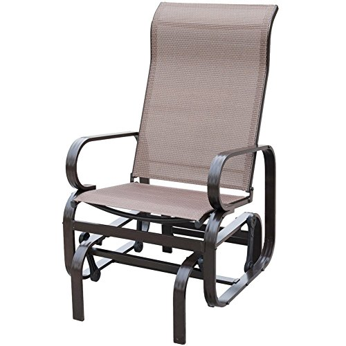 PatioPost Outdoor Porch Glider Patio Swing Rocking Lounge Chair with Breathable Textilene Fabric Powder Coated Sturdy Aluminum Frame Support 350lbs for Outdoor Backyard,Beside Pool,Lawn, Mocha