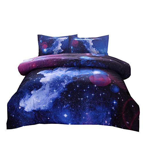 NTBED Galaxy Comforter Set Full Size with 2 Matching Pillow Shams, Sky Oil Printing Outer Space Bedding Sets for Teens Boys Girls