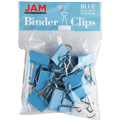 JAM PAPER Colorful Binder Clips - Medium - 1 1/4 Inch (32 mm) - Blue Binderclips - 15/Pack