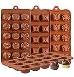 KBstore 4 Pack Moldes de Bombones de Silicona - Forma de Corazón Flor Piramide Molde de Silicone para Chocolate/Caramelo de Café/Cubo de Hielo/Gelatina/Pequeño jabon