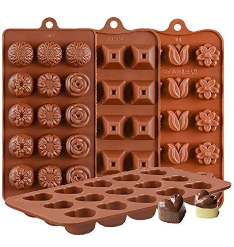 KBstore 4 Stück Silikon Schokoladenform Pralinenform - Herz Form und Blumen Pyramide Form Silikonform für Schokoladen - Silikon backform für Schokolade/Süßigkeit/Gelee/Eiswürfel/Kleine Seife