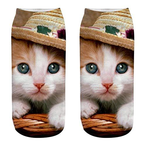 Bedrukte sokken met diermotief, 3D, kat, astronaut, bedrukt, van gekamd katoen, ademend, nonchalant, modieus, voor boot, koffie, unisex, heren, dames, lente Y