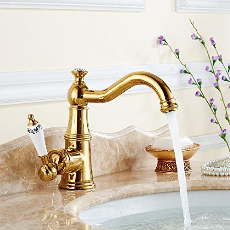 HUAIX Home Waschbecken-Mischbatterie Badezimmer-Küchen-Becken-Hahn auslaufsicher Wasser sparen Goldene Küche voll Kupfer Rotary Gold überzogenes Antike