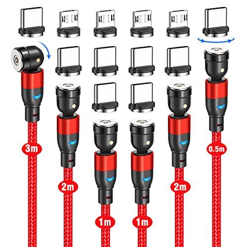 CJOY Cavo USB magnetico, [6 pezzi, 0,5m+1m+1m+2m+2m+3m] 3 in 1, Cavo Magnetico in Nylon Girevole a 360° e 180°, per iProdotto/Micro USB/Type C/Phone/Samsung/Huawei/Xiaomi (rosso)