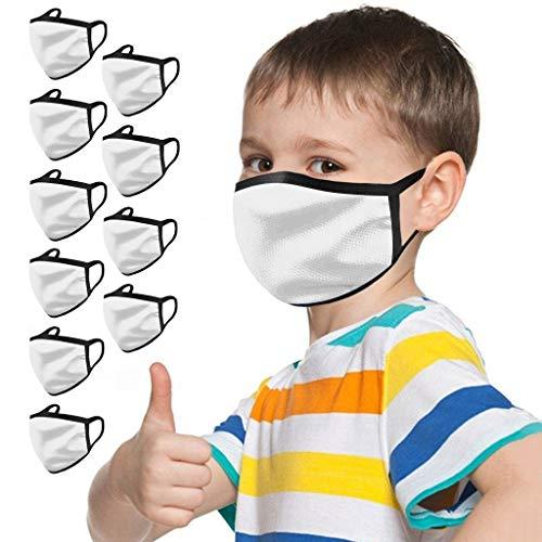 BINMUO 10 Stück Kinder Mund und Nasenschutz Mundbedeckung waschbar Staubdicht Bandanas Halstuch Wiederverwendbare Gesichtsbedeckung Komfortable Mundschutzhülle (M)