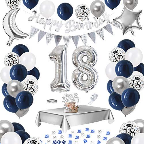APERIL 18. Geburtstag Dekoration Männer, Bedruckte Silber Konfetti Luftballons Number Folienballon Zahl 18 Luftballons Tischdecke 10g Tischkonfetti Happy Birthday Girlande Banner Torten Deko