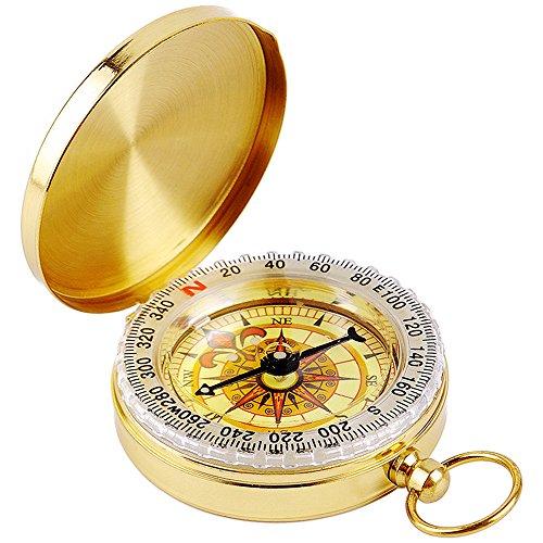 Dland Brújula Militar Brújula en la Oscuridad, Reloj de Bolsillo portátil Flip-Open Compass Impermeable para Camping, Senderismo y Otras Actividades al Aire Libre. (Dorado)