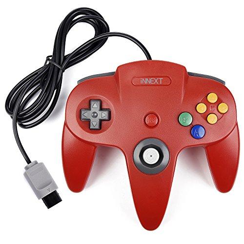innext Retro GamePad 64N64controlador, N64gamepad de juego con cable para 64Console N64(rojo)