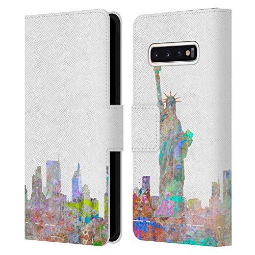 Head Case Designs Licenciado Oficialmente Aimee Stewart Skyline de Nueva York Paisajes Carcasa de Cuero Tipo Libro Compatible con Samsung Galaxy S10