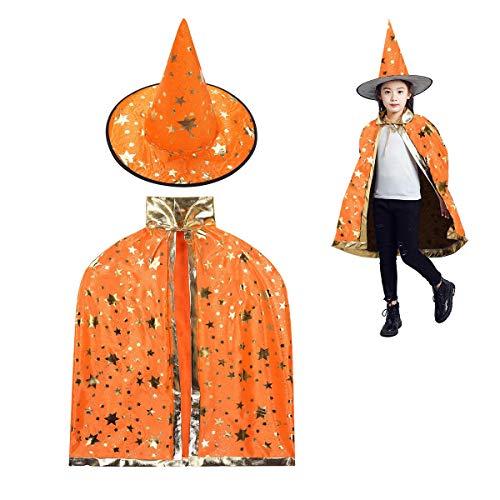 MUCHEN SHOP Zauberer Kostüm Kinder,Halloween Kostüme Zauberer Mantel mit Hut Hexen Mantel Stern Cape Zauberhut für Kleinkinder Jungen Mädchen Cosplay Orange