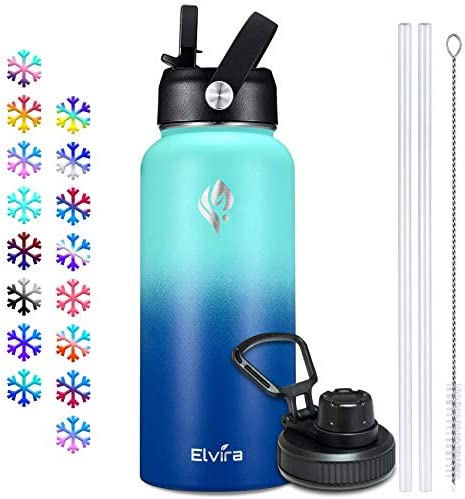 Elvira 32oz Vacuum Insulated Stainless Steel Water Bottle with Straw Spout Lids Double Wall product image