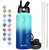 Elvira 32oz Vacuum Insulated Stainless Steel Water Bottle with Straw & Spout Lids, Double Wall Sweat-proof BPA Free to Keep Beverages Cold For 24 Hrs or Hot For 12 Hrs-Green/Blue