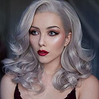 Imstyle Silver Grey Lace Front Wigs Short Bob Wavy Gray Wig for Women Drag Queen Cosplay Party Costume Glueless Cap Synthetic Lace Frontal Wigs with Heat Resistant Hair 14 Inch