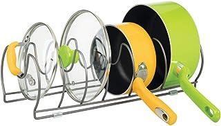 mDesign Soporte para sartenes, tapas y cacerolas – Compacto organizador de tapas de ollas para los armarios de la cocina – Estante de metal para utensilios – Ahorra espacio – color grafito