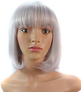BOBIDYEE 女性のストレートショートボブスタイリッシュな耐熱合成シルバーホワイトカラーフルヘアウィッグと前髪パーティーウィッグ (Color : Silver white, サイズ : 40cm)
