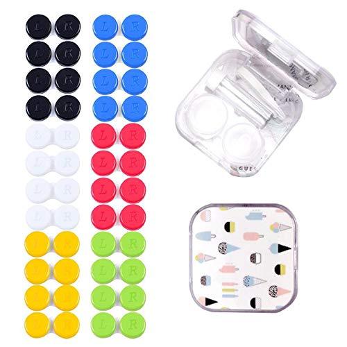Kontaktlinsenbehälter 24 Pcs Linsenbehälter Verschiedene Farben Kontaktlinsenbehälter Set für Zuhause Reisen Weiche Harte Linsen with Travel Kontaktlinsenetui Mini Box Container Pinzette und Saugnapf