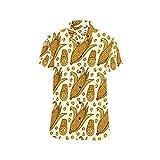 InterestPrint Corn Cobs and Corn Grains Button Down Short Sleeve Shirt for Men 2XL