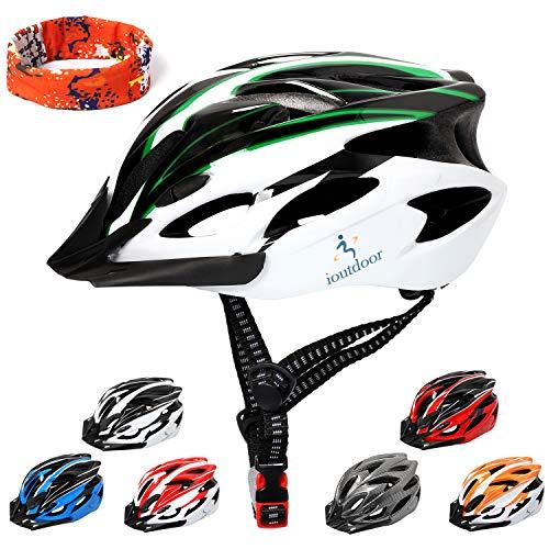 ioutdoor Erwachsene Fahrradhelm CE EN1078, EPS-Körper + PC-Schale, Robust und Ultraleicht, mit Abnehmbarem Visier und Polsterung, mit freiem Stirnband, Verstellbar Radhelm(56-64cm) (Grün Weiß)