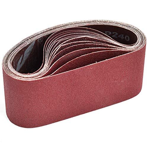 Aiyard 3 x 18-Inch Aluminum Oxide Sanding Belts, 40/80/120/240/400 Assorted Grits Abrasive Belts for Belt Sander, 15-Pack