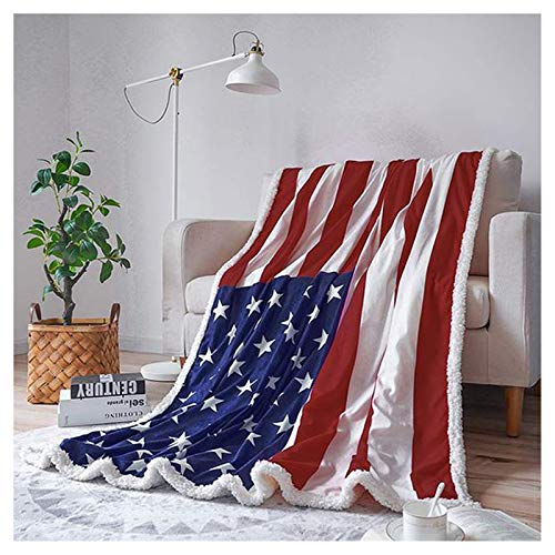 BGWQ Sherpa Fleece Blanket, Super Soft Warm Deluxe American Flag Blanket Buffalo Plush Gig Blankets, Lightweight Cozy Fuzzy Blanket for Couch Sofa Bed (120x180cm/47 x71)