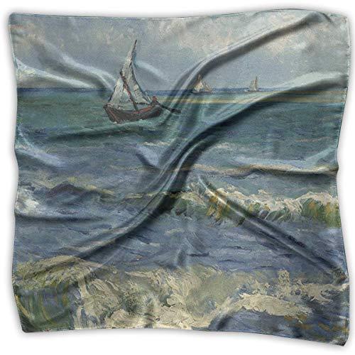 Paisaje marino cerca de Les Saintes-Maries-de-la-mer Pañuelo cuadrado elegante para mujer Pañuelo para la cabeza con cuello de poliéster
