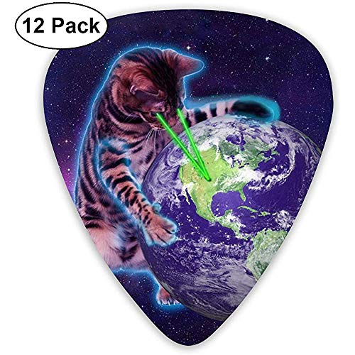 Space Cat mit Augenlaser 12er Pack Gitarren Plektren, E- und Akustikgitarren