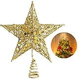 YQing 25.4cm Puntale Albero Natale Glitterato Stella Albero di Natale, Oro Stella per Albero di Natale per Albero di Natale Decorazione per la Casa
