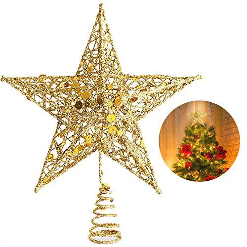 YQing 25.4cm Weihnachten Baumspitze Stern, Christbaumspitze Glitzernden Gold Baumspitze Stern Deko Weihnachten Baumkrone Tree Topper für Weihnachtsbaum Dekoration oder Wohnkultur