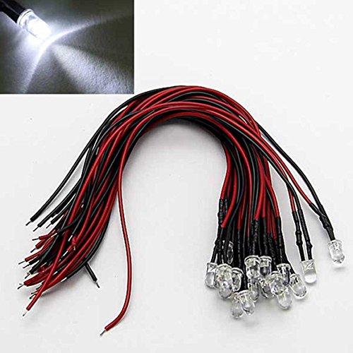 LAOMAO 20x 3mm Leds mit 20cm Kabel 12 Volt DC/Led fertig verkabelt (3mm, Weiß)
