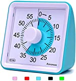 Ainowes Visual Timer, 60-Minute Silent Countdown Timer for Kids and Adults, Time Management Tool for Kitchen, Classroom, Self-Study, No Loud Ticking (Blue)