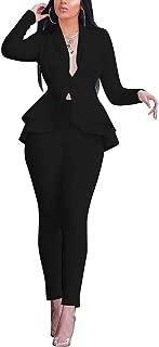 OLUOLIN Women's Elegant 2 Piece Blazer Suit Deep V Neck Ruffle Top Bodycon Long Pant Set with Belt