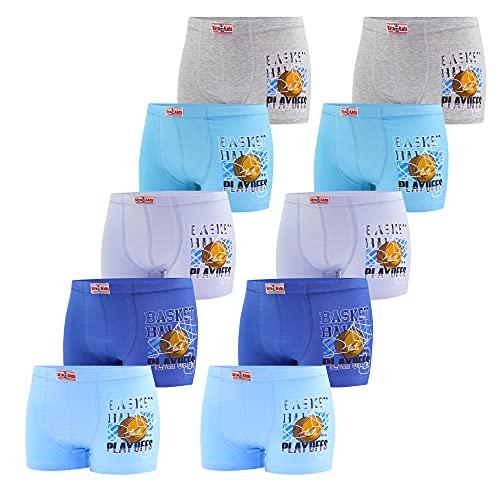 Förpackning med 10 boxershorts pojkar kalsonger bomull barn underkläder set, Modell 5, 122/128 cm