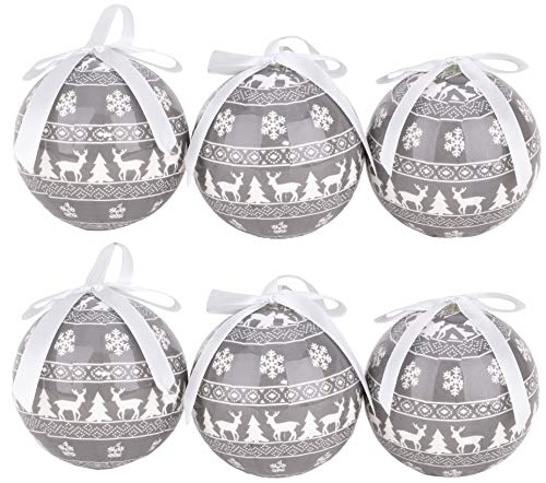 TOYLAND Paquete de 6 - Bolas de árbol de Navidad Decoradas con Espuma de poliestireno de Estilo nórdico Gris y...