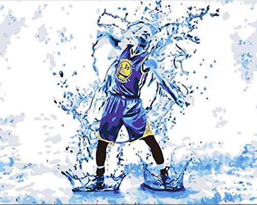 WDNEJKJH Pintura por Números Jugador de Baloncesto DIY Pintar por Numeros con Pinceles y Pinturas para Adultos Niños,DIY Conjunto Completo de Pinturas para el Hogar - 40x50 cm (Sin Marco)