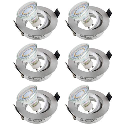 SEBSON Einbaustrahler rund schwenkbar 6er Pack inkl. GU10 LED Lampe 3,5W - Unterputz Decken Einbau Rahmen Alu gebürstet Lochdurchmesser 75mm