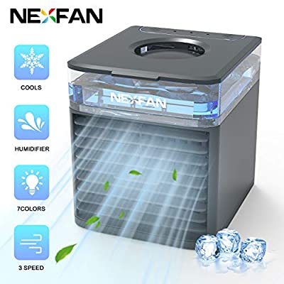 runvian Personal Air Cooler - Mini Portable Air Conditioner Fan - 4 in 1 Evaporative Cooler - Humidifier with 7 Colors LED Light - 3 Speed USB Desktop Cooling Fan for Home, Room, Office