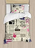 Ambesonne United States Duvet Cover Set, Newspaper New York with Sketchy of Liberty and Texts Lipstick Vintage, Decorative 2 Piece Bedding Set with 1 Pillow Sham, Twin Size, Beige