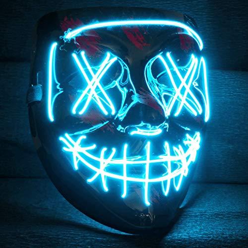 Balinco LED Purge Maske mit 3 Blitzmodi - perfekt geeignet als Techno DJ | Halloween | Karneval | Fasching als Ergänzung zum Horror Kostüm (Türkis)