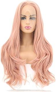 ファッション女性のかつら、自然なフロントレースオレンジ波状トウモロコシの長い髪のかつら、任意の頭の形のための調節可能なかつら16-26インチ
